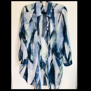 Chico's Blue/Green/White Watercolor Sheer Blouse